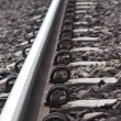 Lock on Rail Track — Stock Photo