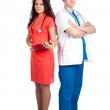 Professional handsome doctor and sexy nurse — Stock Photo