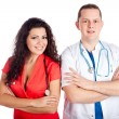 Stock Photo: Two happy young doctors