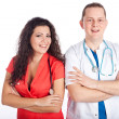 Stock Photo: Two joyful young doctors