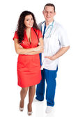 Two happy young doctors — Stockfoto