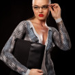 Stock Photo: Sexy executive woman with glasses and papercase