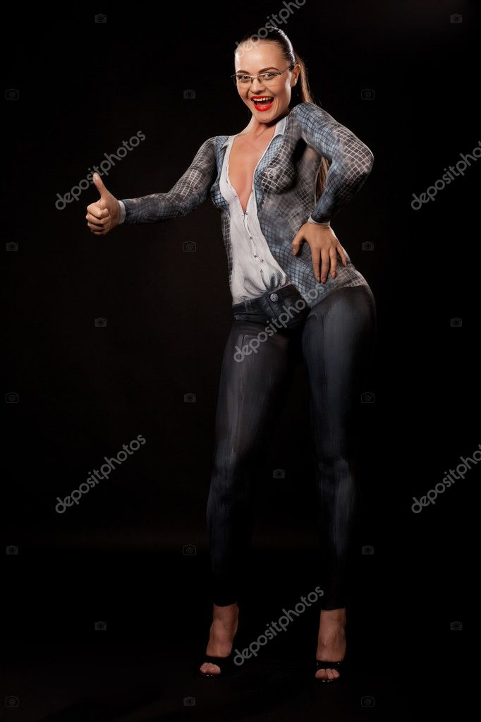 Full body view of a naked sexy businesswoman covered in bodypainting, looking at camera, gesturing OK sign. Artistic concept for sexual issues at work. You can easily add  products in her hands. High resolution studio image on black background. — Stock Photo #11009026