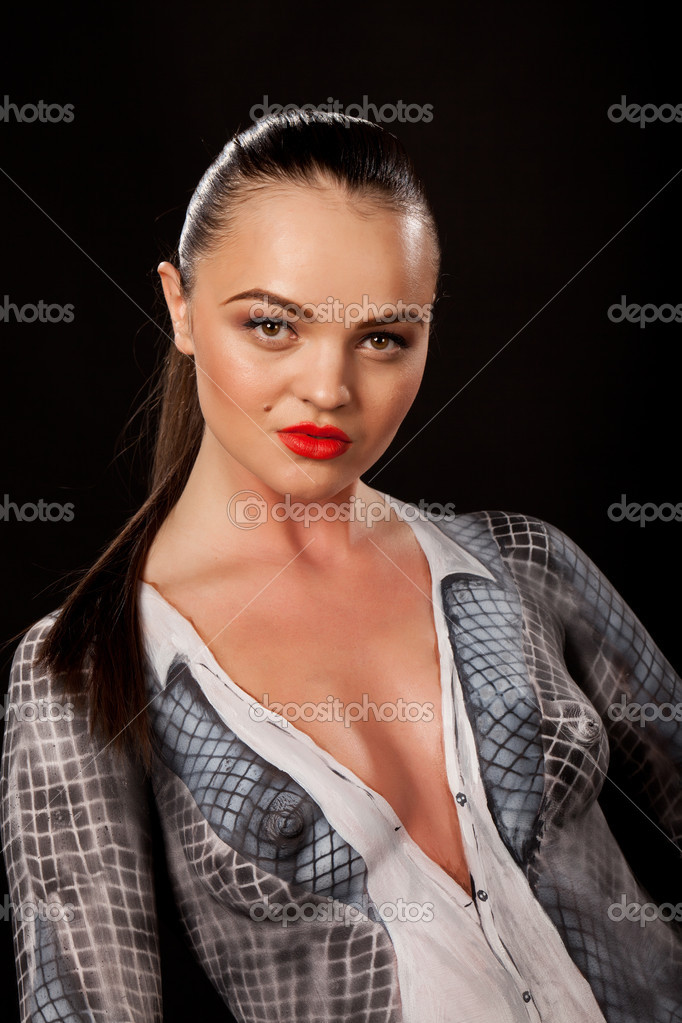 Sexy young businesswoman that has checkered businessuit painted on naked body. Artistic bodypainting concept for sexual issues at work. — Stock Photo #11009209