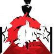 Woman silhouette on a red carpet. Isabelle series - Stock Vector
