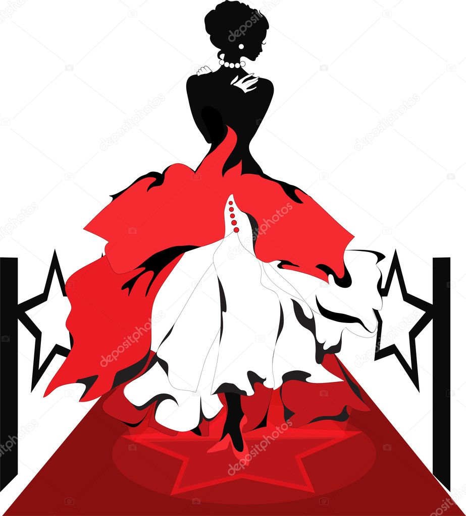 Woman silhouette on a red carpet with lights  Stock Vector #11001173
