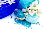 Salt and soap blue with towel and flowers of apple — Стоковое фото