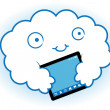 Cloud hugs the tablet — Stock Vector