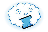Wolk hugs de tablet — Stockvector