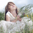 Fairy-tale beautiful little girl on a lawn with the field flower — Stockfoto #11037534