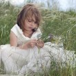 Fairy-tale beautiful little girl on a lawn with the field flower — Stock Photo #11037540