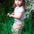 Little girl on a background a bush with white flowers — Stock Photo