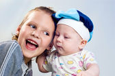 Two little brothers are expressed by a delight and gladness — Stock Photo