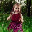 Beautiful little girl on a lawn with dandelions — Stock Photo #11144582