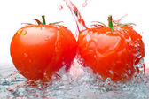 Two tomatos and Water — Stock Photo