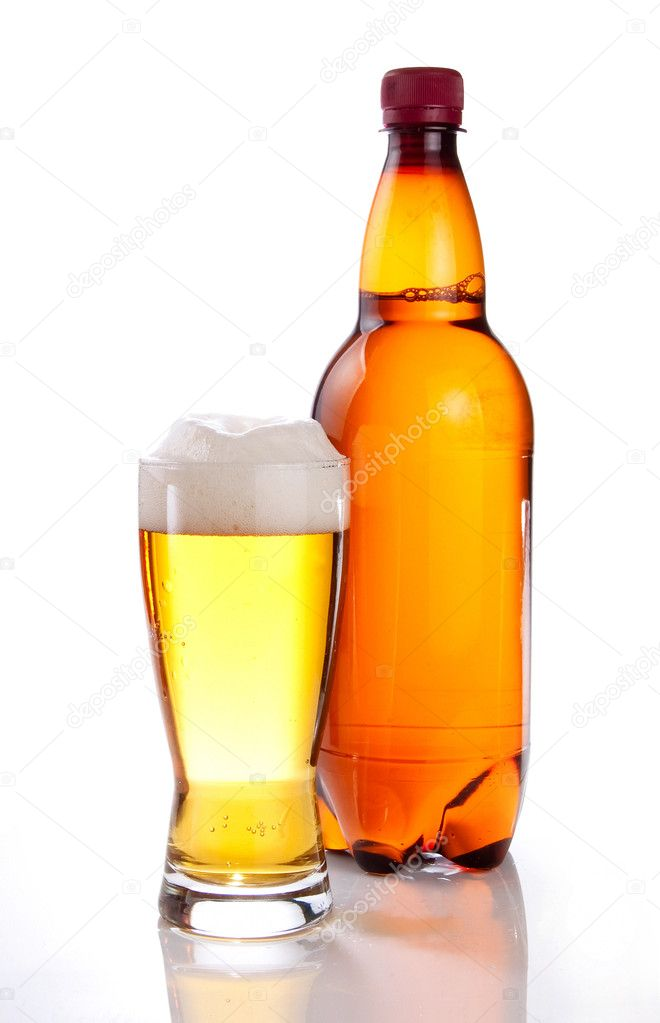 Beer in plastic bottle and glass on a white background  Photo #11144014