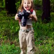 Stock Photo: Amusing little girl takes pictures a professional camera