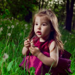 Beautiful little girl on a lawn with dandelions — Stock Photo #11302422