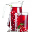 Pitcher and two glasses with cherries and juice, isolated on a w - Stock Photo