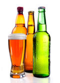 Isolated Glass Beer in plastic bottle and Two glass bottles with — Stock Photo