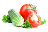 Ripe tomatoes, cucumber and parsley on a white with Clipping Pat — Stock Photo