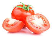 Red Ripe Tomatoes vegetable with cut on White background — Stock Photo