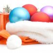 Stock Photo: Christmas Red, Purple, Blue Baubles in Traditional Santa Hat, br