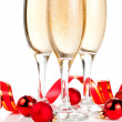 Three Glass of Champagne, Red ribbon and Christmas Balls Isolate — Stock Photo #11567873