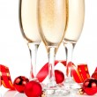Three Glass of Champagne, Red ribbon and Christmas Balls Isolate — Stock Photo