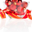Stock Photo: Set of red Christmas balls in the vase and ribbon Isolated on wh