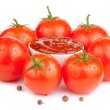 Stock Photo: Bowl with fresh ketchup and six wet juicy ripe tomatoes isolated