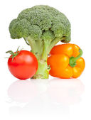 Set of Fresh vegetables: Broccoli, tomato and Yellow Bell Pepper — Stock fotografie