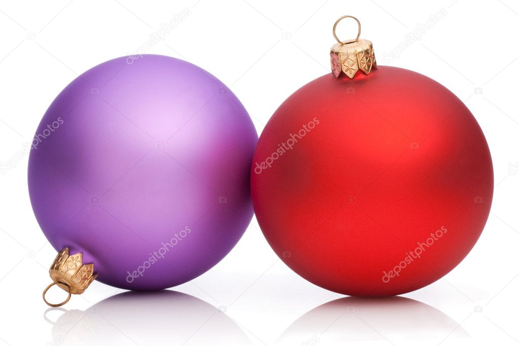Christmas Purple and Red Baubles Isolated on white background  Stock Photo #11567525