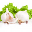 Garlic, pieces, Allspice and Fresh lettuce bunch isolated on a — Stock Photo