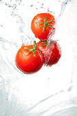 Three Fresh red Tomatoes in splash of water Isolated on white ba — Stock Photo