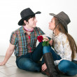 Cowboy's love story — Stock Photo