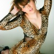 Brunette in a leopard dress — Stock fotografie