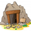 Stock Vector: Cartoon mine entrance