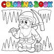 Stock Vector: Coloring book cartoon dwarf miner