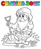 Coloring book cartoon garden dwarf — Stock Vector