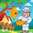 Vector de stock : Beekeeper with hive and bees