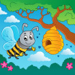 Stock Vector: Cartoon bee with hive