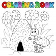 Coloring book ant near anthill - Stock Vector