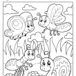 Coloring book bugs theme image 3 — Stock Vector