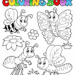 Coloring book cute bugs 2 - Stock Vector
