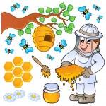 miele ape tema insieme — Vettoriale Stock