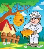 Beekeeper with hive and bees — Stock Vector