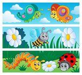 Collezione di insetti banner 1 — Vettoriale Stock
