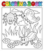 Coloring book bugs theme image 1 — Stock Vector