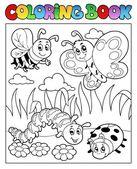 Boek bugs thema afbeelding 2 kleuren — Stockvector